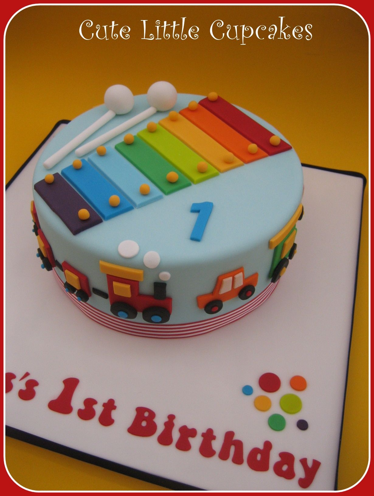 Fabulous Musical Themed 1St Birthday Cake Decorated With A Rainbow Funny Birthday Cards Online Hendilapandamsfinfo