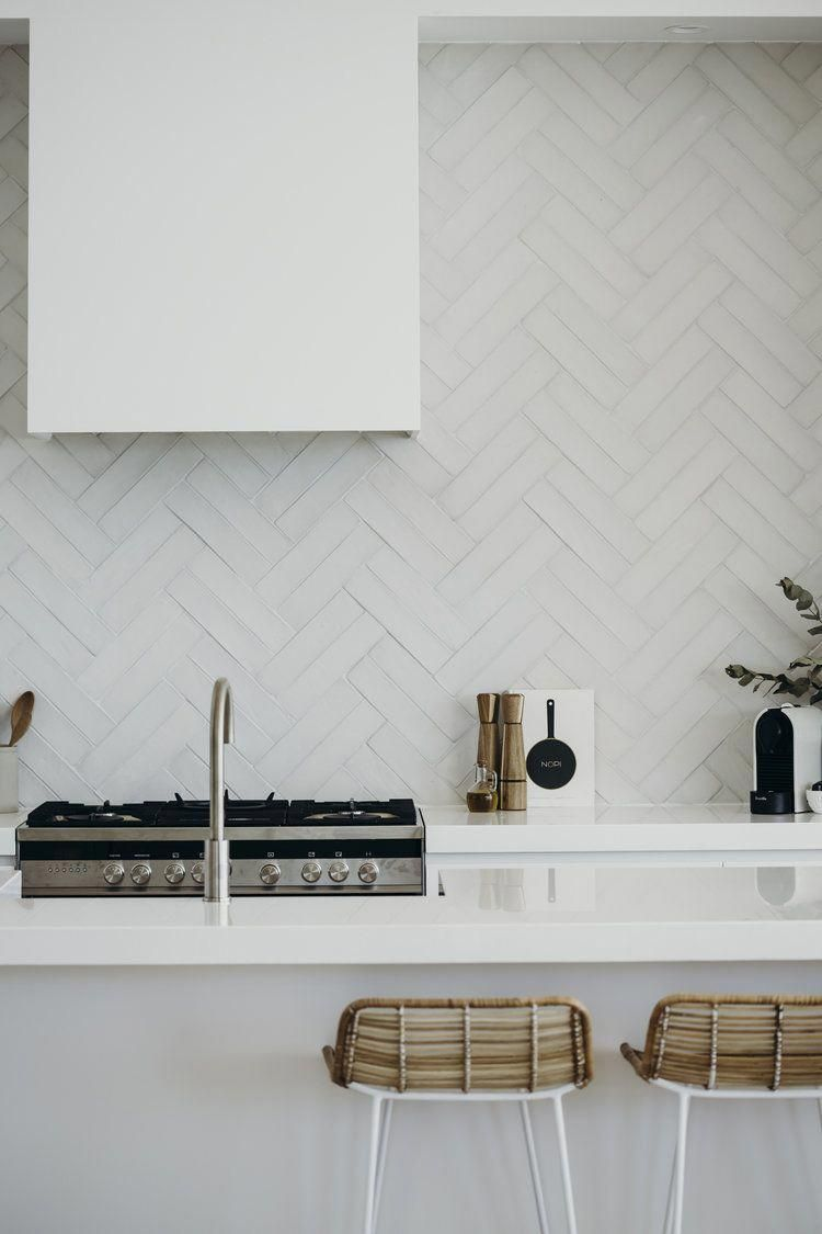 Terra Cotta Tiles In Double Herringbone Kitchen Splashback