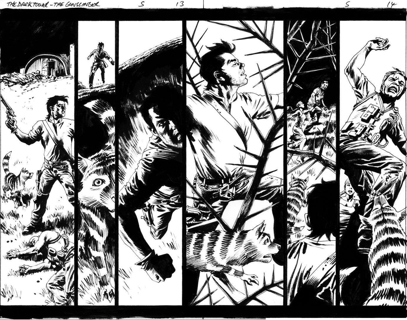 Comic Art For Sale from Splash Page Comic Art, Dark Tower The Gunslinger The Journey Begins Issue 05 Page 13 and 14 by Comic Artist(s) Sean Phillips