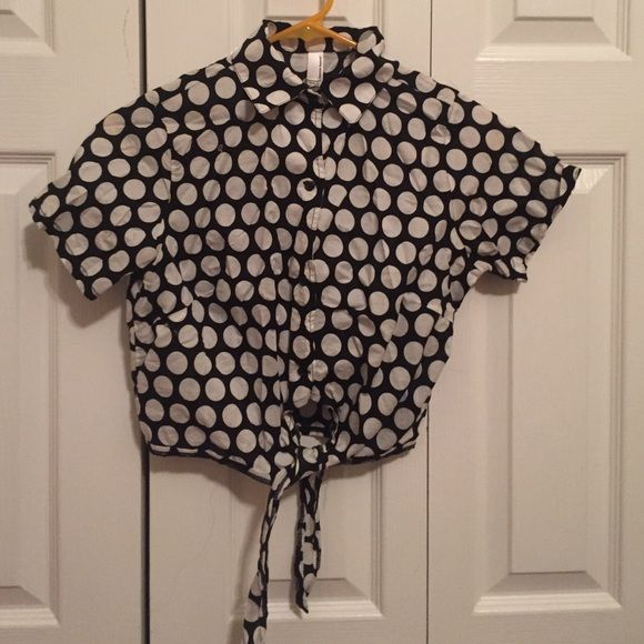 Collared polka dot shirt Worn once, purchased from American Apparel American Apparel Tops Button Down Shirts