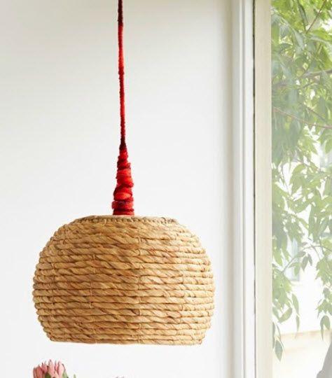 lámparas de techo con cestas de mimbre Lámparas Pinterest