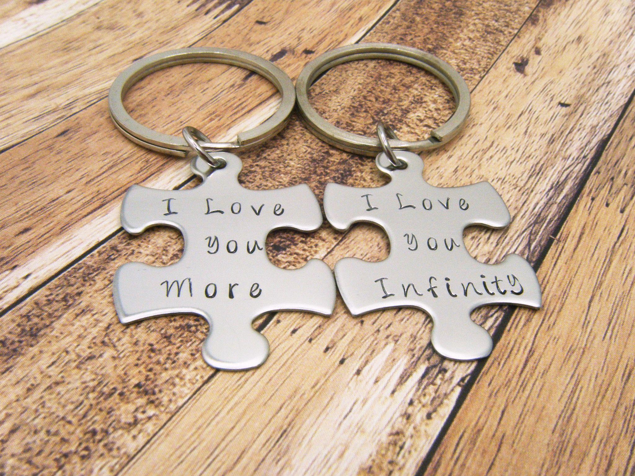 Custom Puzzle Piece Keychain/'s I love you More  Couple/'s Keychain I love you