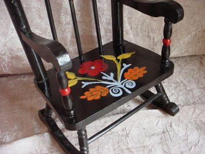 Hand painted rocking chair for doll or teddy bear ~ Americana Folk Art style