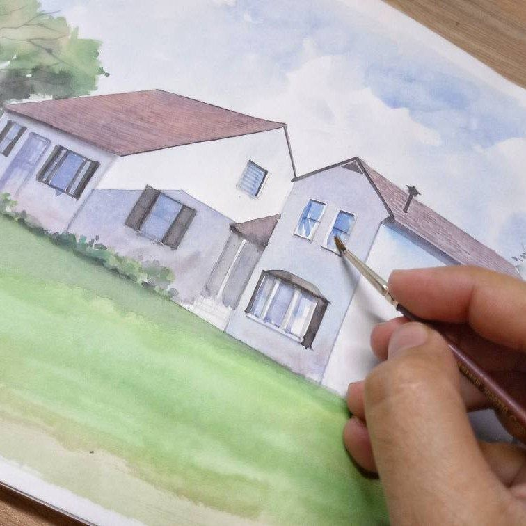 Working on the latest custom watercolor house portrait 🏠. Get yours today starting $20. Free worldwide shipping!🌎