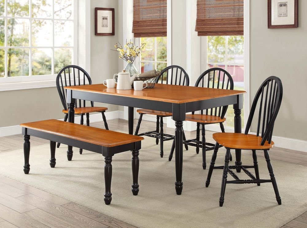 6 Piece Wooden Dinette Table 4 Dining Chairs Bench Country Farm Black Oak  Set