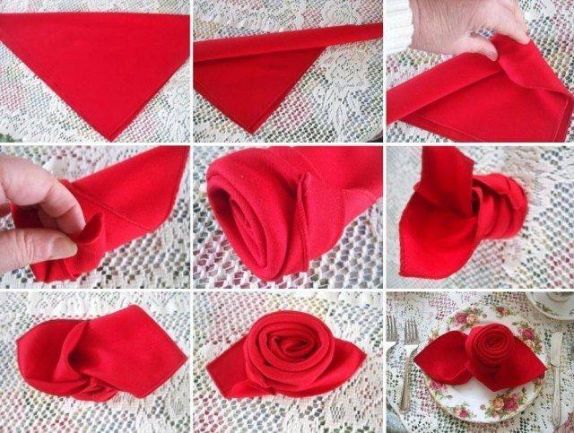 vintage deko mit faltanleitung rote rose einfach zum nachbasteln servierten falten pinterest. Black Bedroom Furniture Sets. Home Design Ideas