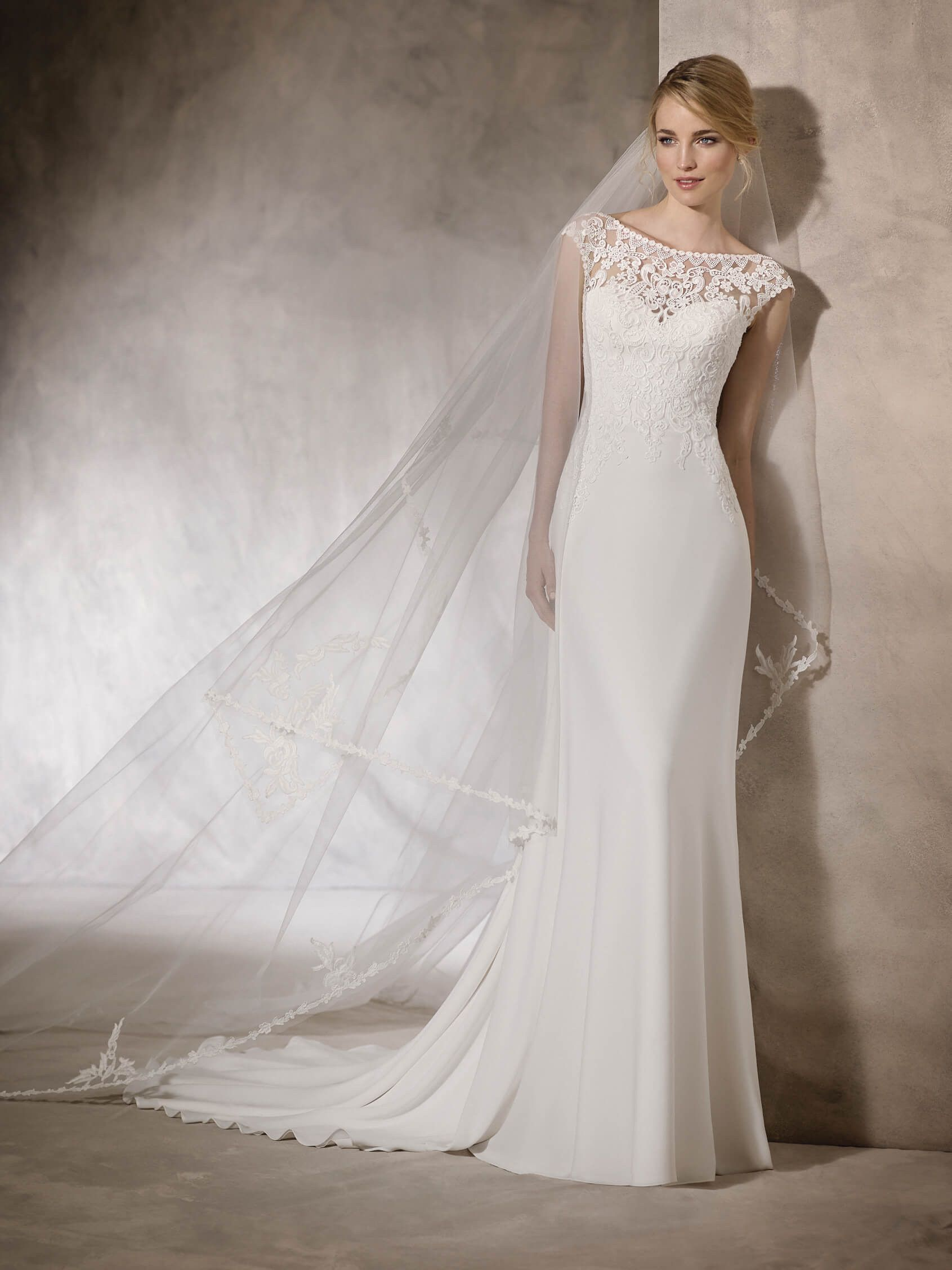 HAGAR - Flare crepe, tulle and guipure wedding dress   St. Patrick ...