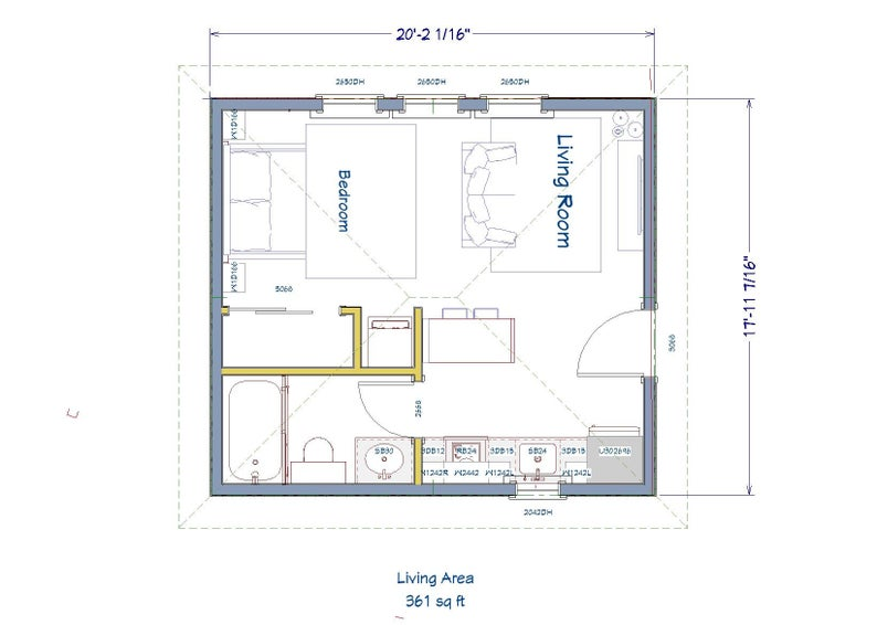 361 Square Foot Studio House Design Plans For Sale Pdf Etsy Studio Floor Plans Studio Apartment Floor Plans Home Design Plans