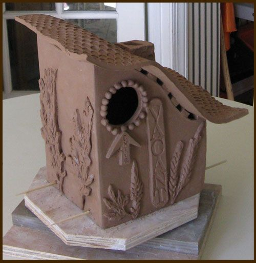 Clay Birdhouses Student S Blue Bird House Build At