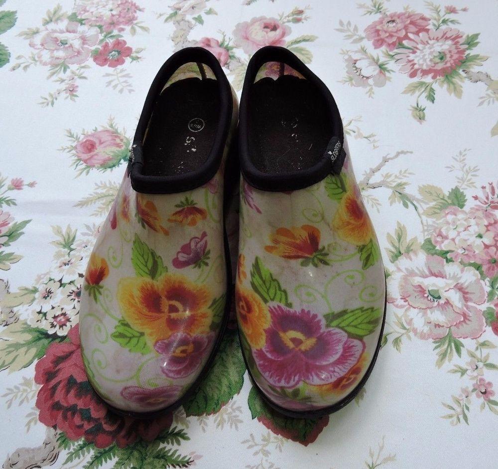 Sloggers Women white Floral Waterproof Rain Garden Clogs
