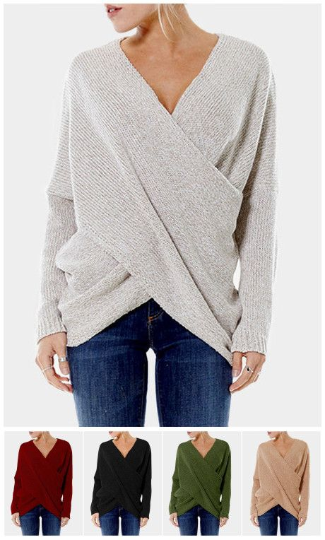 1c228bdd9eddf Cross Front V-neck Irregular Hem Jumper | Style | Pinterest