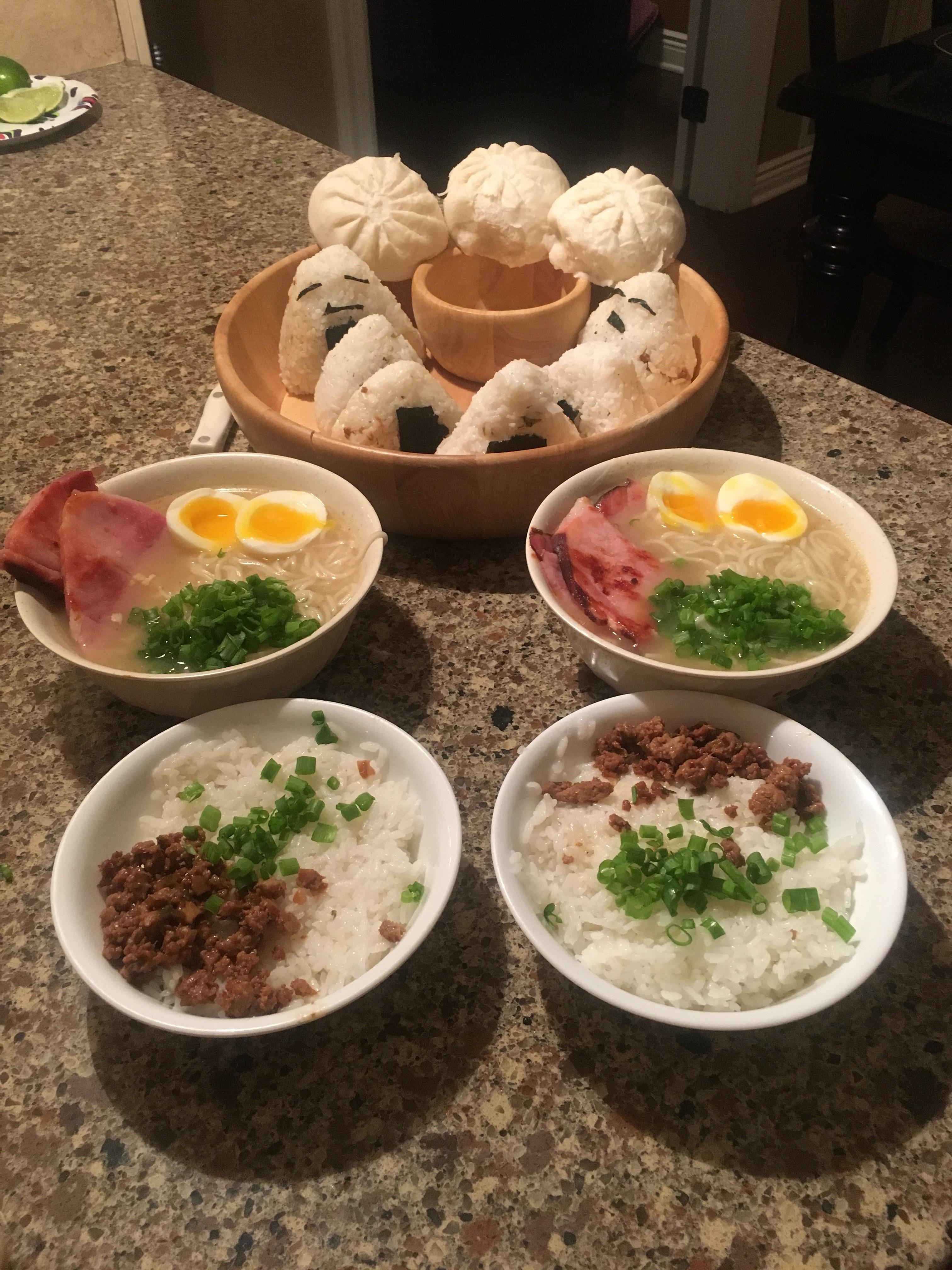 Photo of Anime Inspired Dinner (Ponyo Ramen Pokemon Onigiri Spirited Away Steamed Buns)