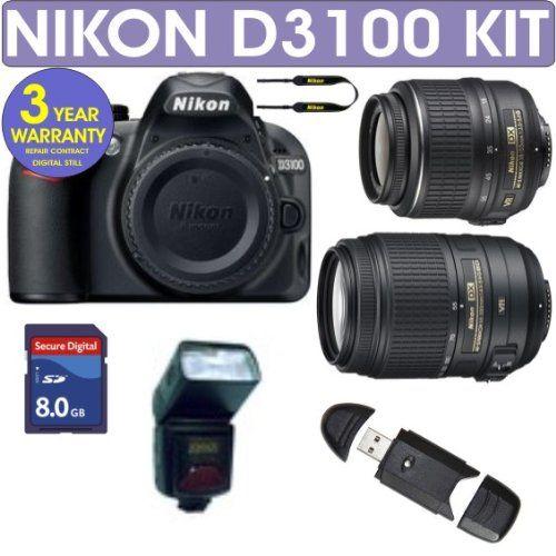 Refurbished Nikon D3100 Digital Slr Camera Nikon 18 55mm Vr Lens Nikon 55 300mm Vr Lens 8gb Memory D900 Nikon D3100 Digital Slr Camera Camera Nikon