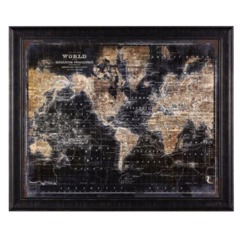 Golden World Map | dream house | Pinterest | Map frame, Type art