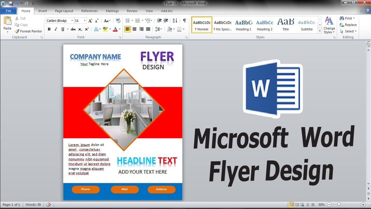 How To Make A Custom Flyer Design In Microsoft Word Microsoft Word Tut Custom Flyers Flyer Design Vertical Business Cards