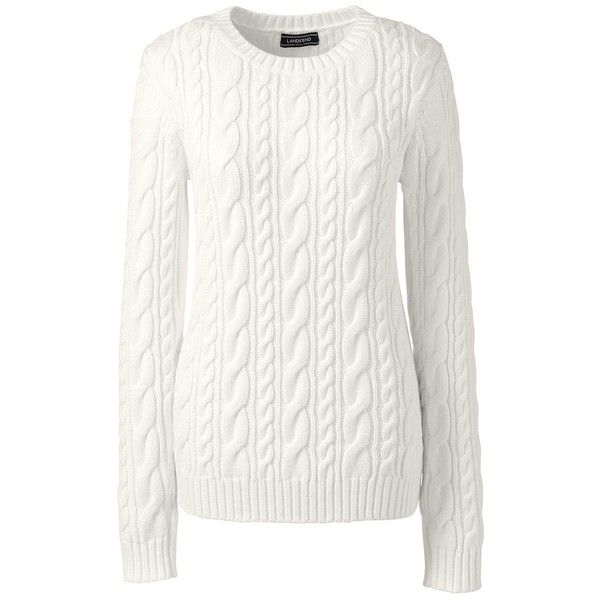 Lands' End Women's Petite Cotton Sweater - Drifter ($59) ❤ liked ...