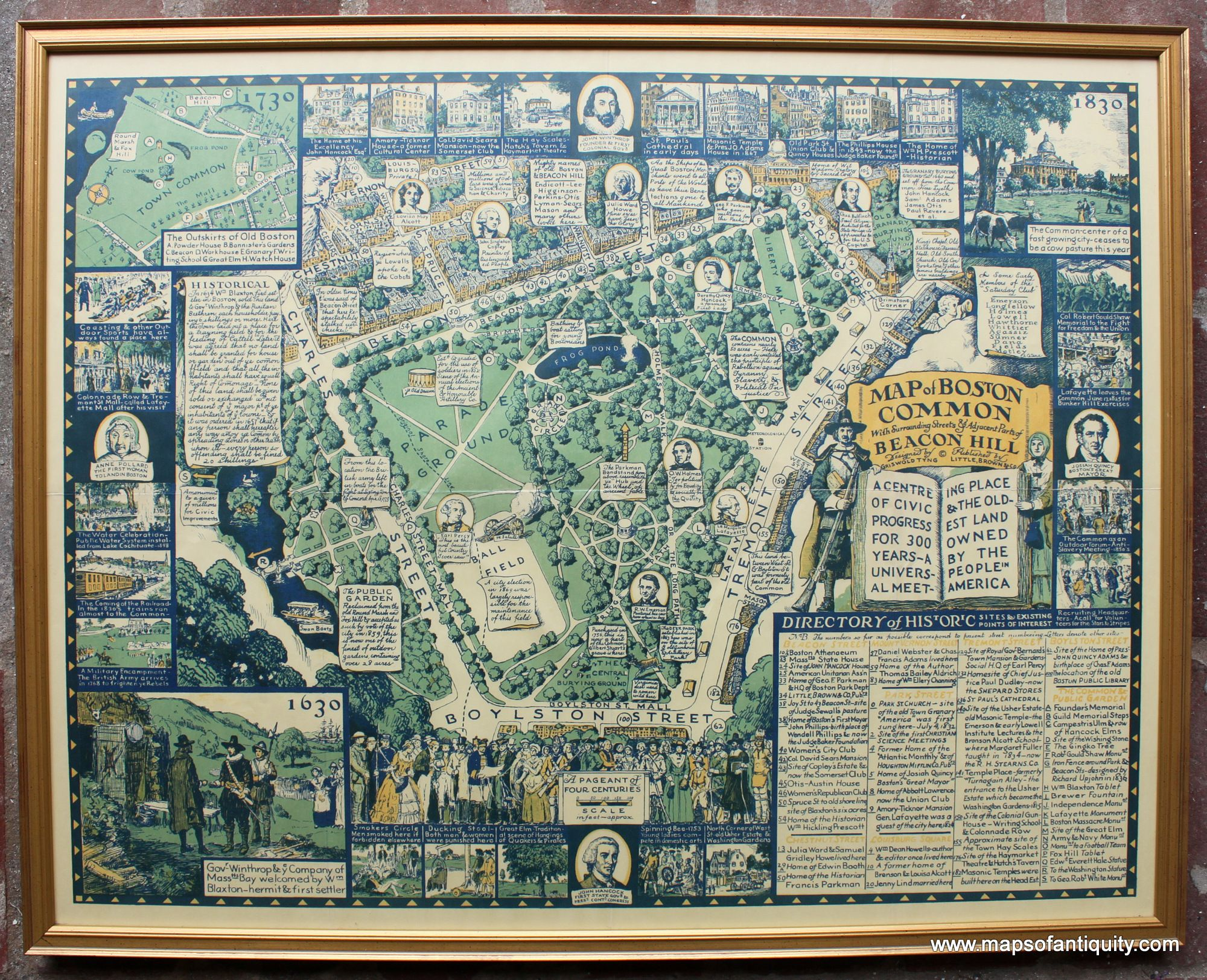 A Map Of Boston Common With Surrounding Streets Adjacent Parts Of - Boston common map