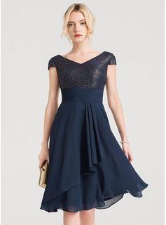 e09e0dcecbbf A-Line/Princess V-neck Knee-Length Chiffon Cocktail Dress With Cascading  Ruffles (016150220)