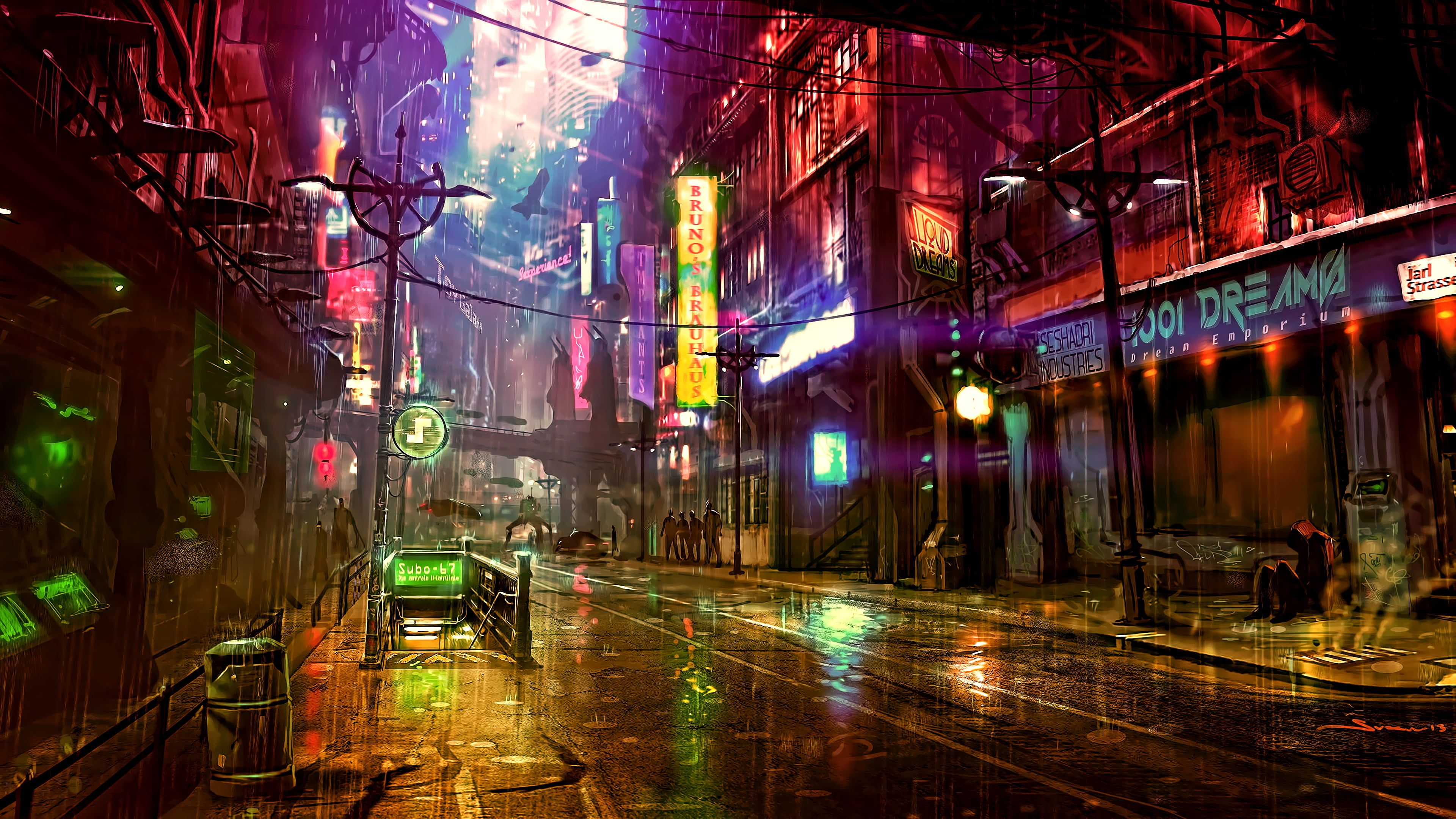 Digital Wallpaper Of City Street City View During Nighttime Night Artwork Futuristic City Cyberpunk Cyber Futuristic City City Wallpaper Digital Wallpaper 4k wallpaper city street