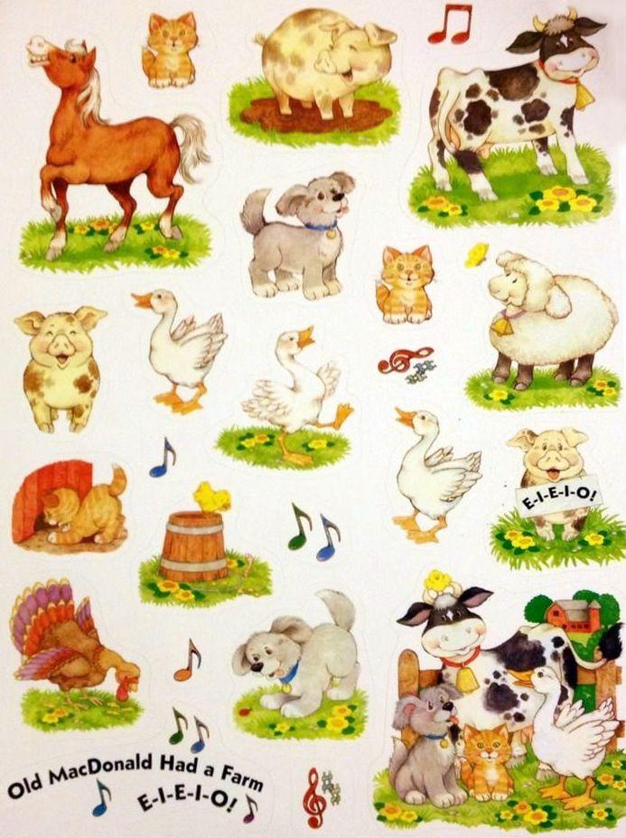 Current Usa Old Mcdonald Had A Farm Sticker Sheet Cute Animal Illustration Sticker Art Barn Crafts