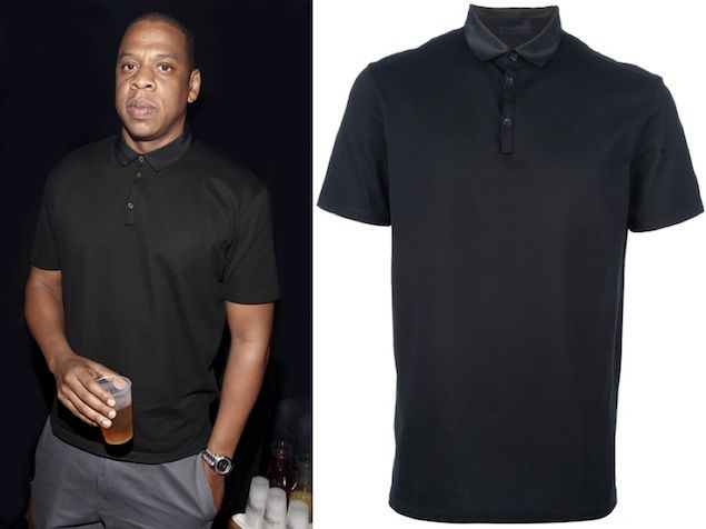 Jay Z wears Lanvin Grosgrain Collar Polo Black Shirt | People ...