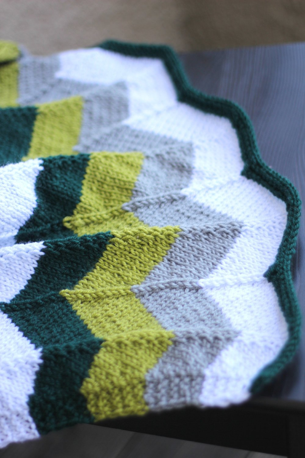 Knit baby blanket in chevron pattern, newborn blanket, baby shower ...
