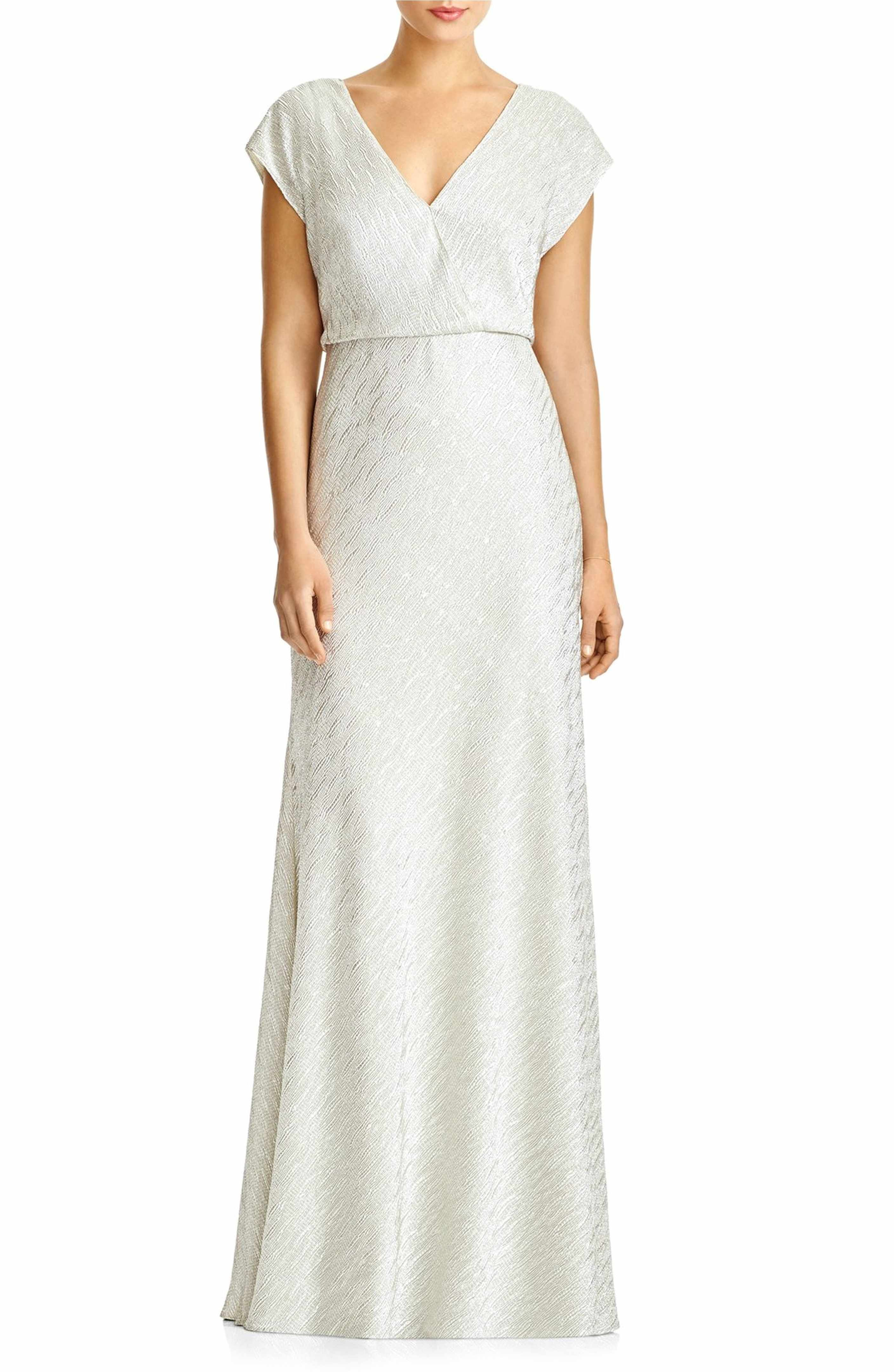 Metallic wedding dress  Main Image  JY Jenny Yoo uSohou Metallic Blouson VNeck Gown