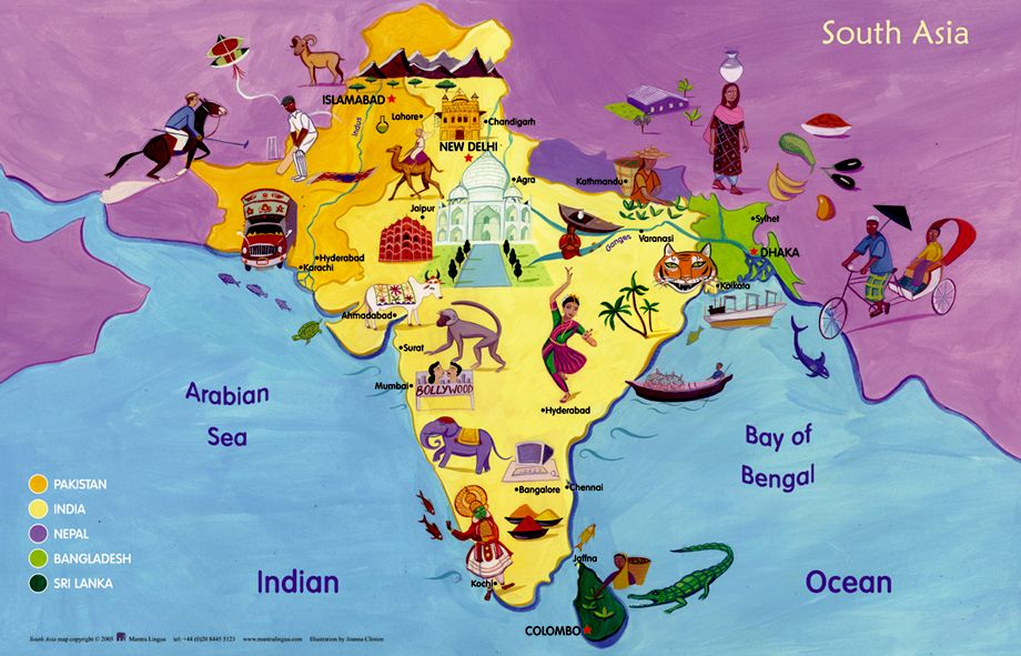 Map of South Asia  Software  Books  Mantra Lingua  Maps