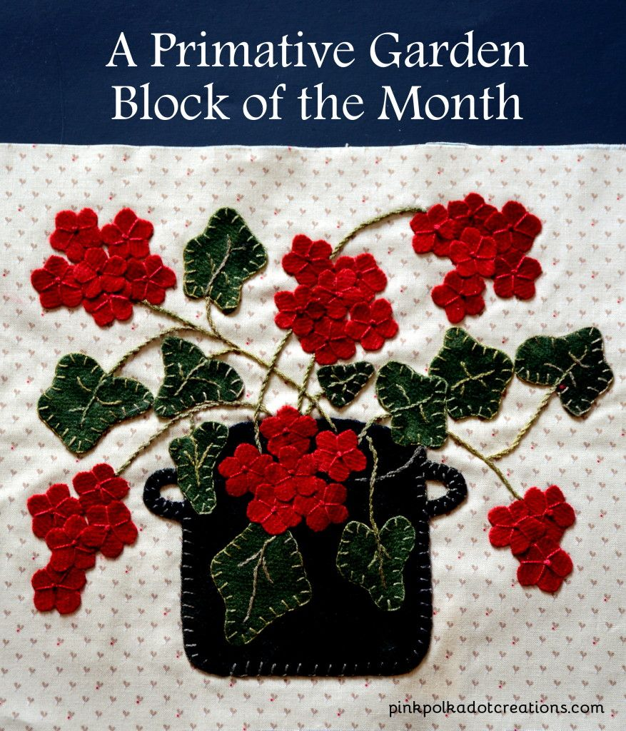 A Primitive Garden- Block of the Month.  A stunning wool applique quilt with beautiful design! | Pink Polka Dot Creations