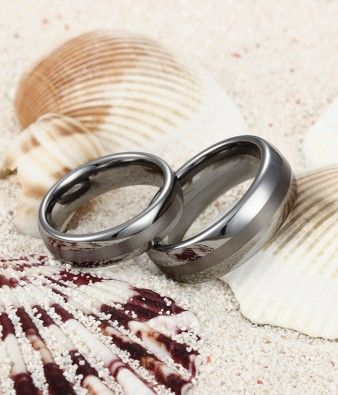 Couple's Domed Tungsten Carbide Wedding Ring Set with Brushed Centre Stripe - Tungsten Republic