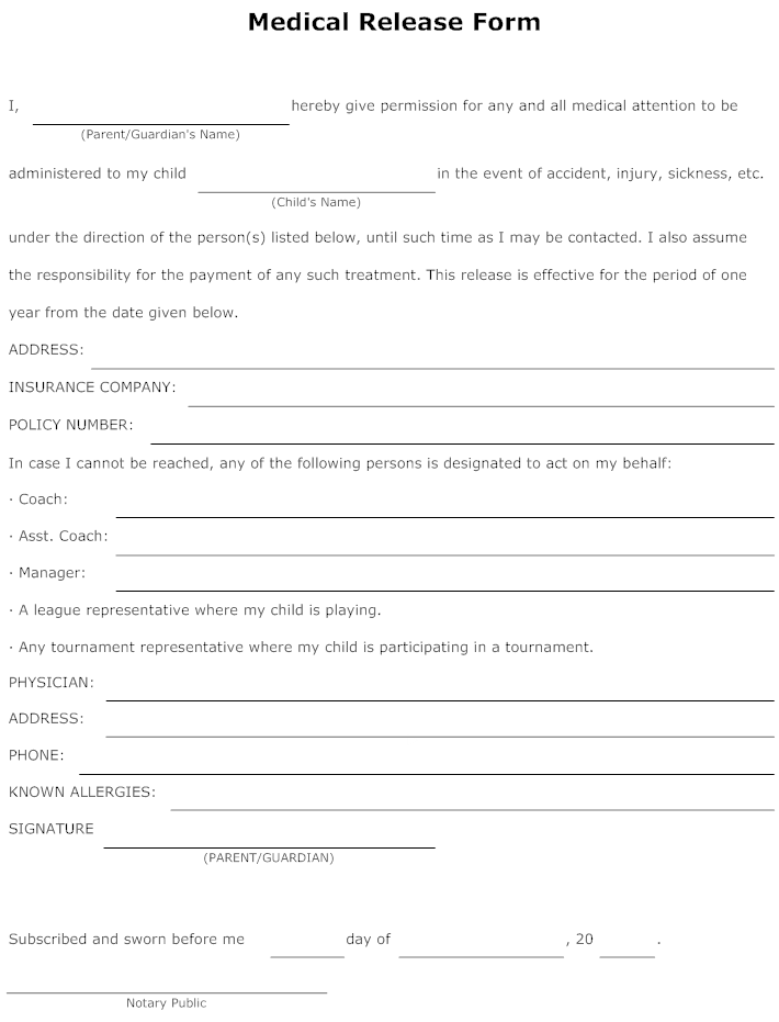Example Image Medical Release Form  Templets