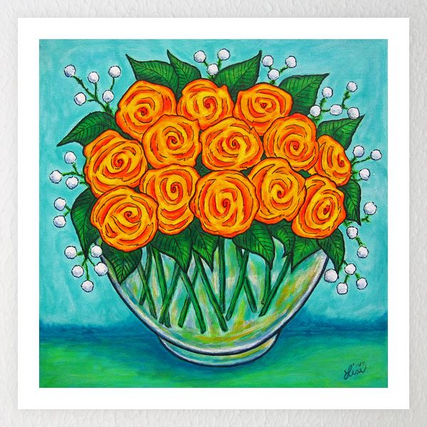 Orange Passion Stylish Vibrant orange roses in a glass bowl against a striking background