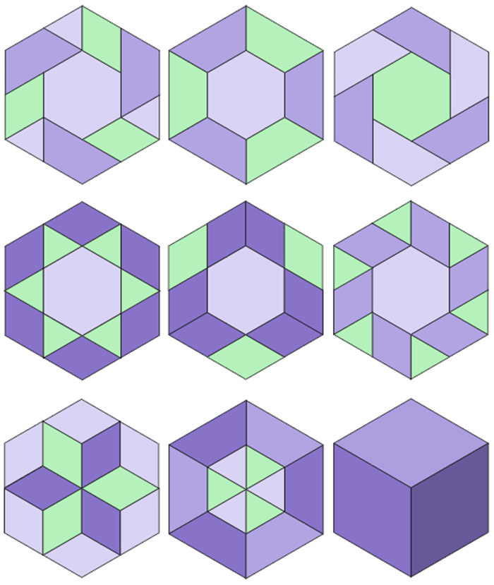 Quick and Easy way to cut shapes for English paper piecing: half-hexagons, diamonds, triangles. Download templates in 6 sizes.