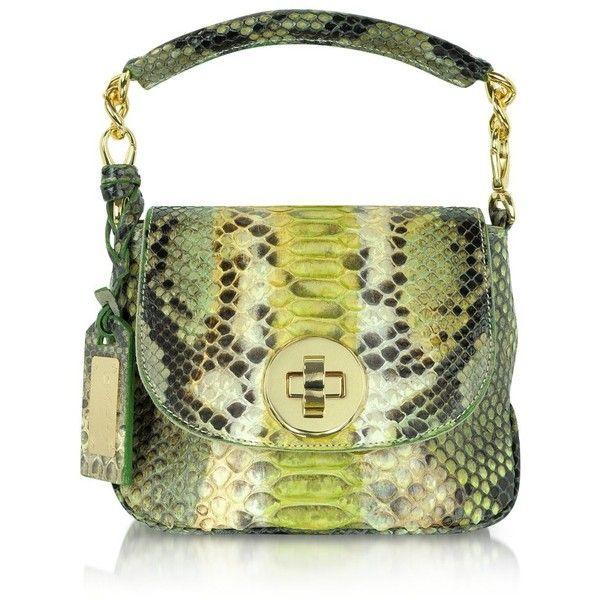 Ghibli Light Green and Beige Python Leather Shoulder Bag ($580) found on Polyvore