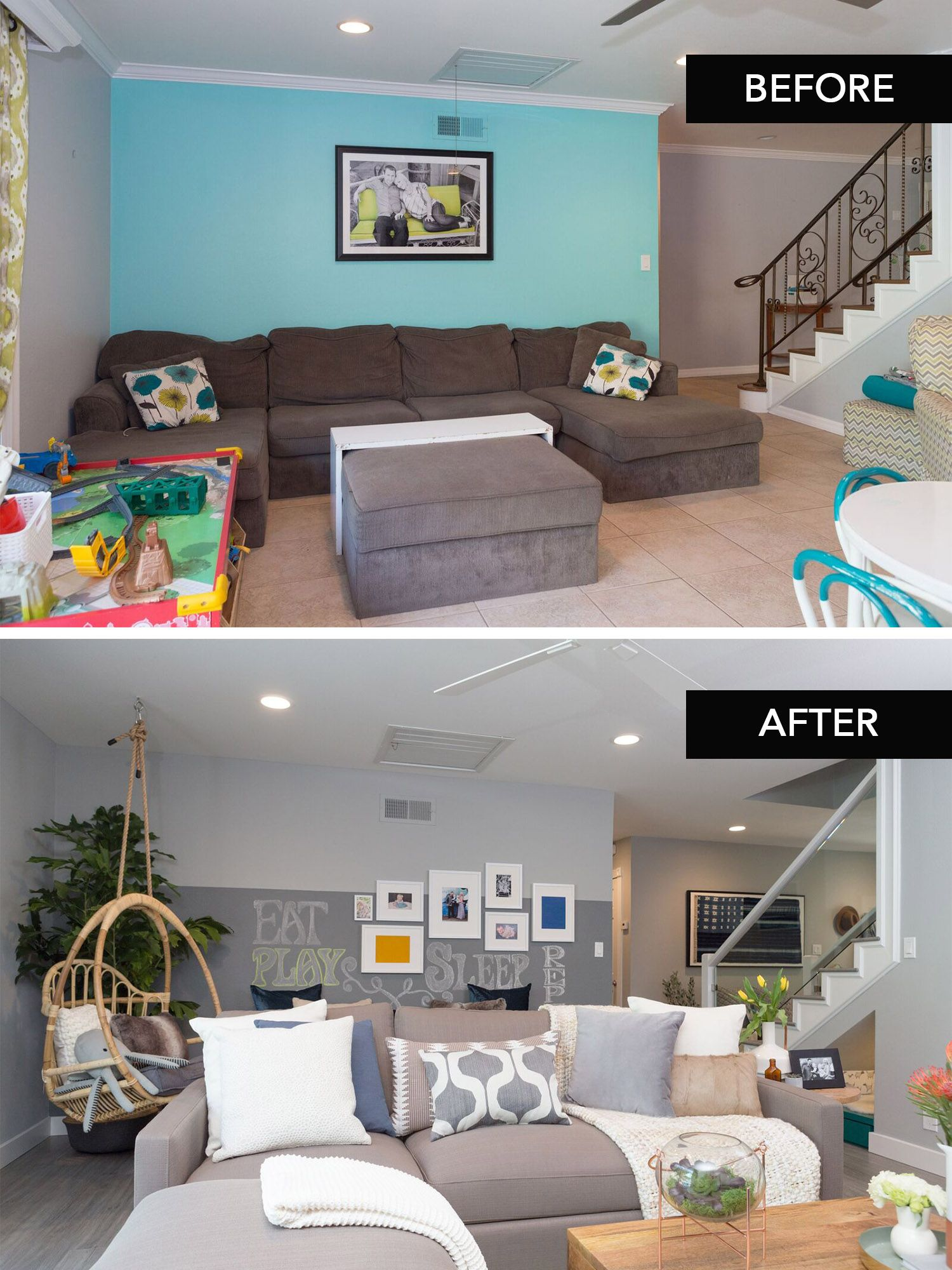 Love This Family Room Transformation Complete With A Kidz Corner As Seen On Hgtv S Hiddenpotential Home Home Renovation Diy House Renovations