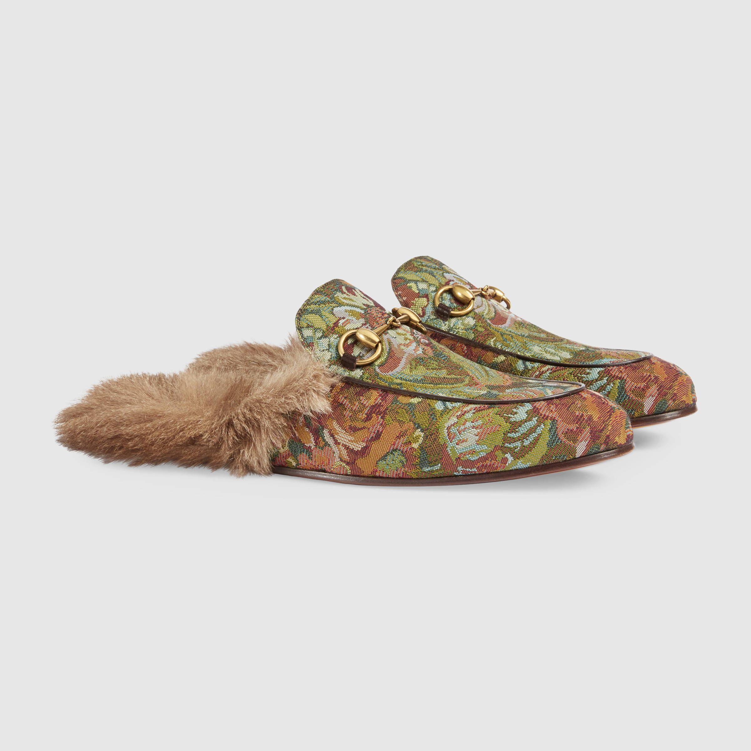 Slippers en cuir et fourrureGucci tRx7Vn