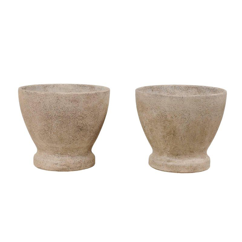 Pair Of French Midcentury Cast Stone Round Planters In Natural Grey Hues Cast Stone Planters Stone Planters