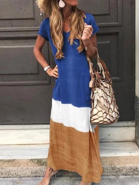 Fashion Contrast Stitching V-Neck Dress | Modestil ...