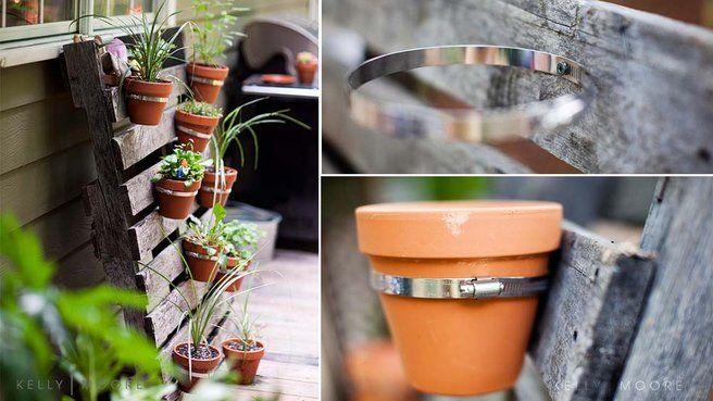 20 id es de diy au jardin avec des palettes rangements casseroles pots de fleurs et palette. Black Bedroom Furniture Sets. Home Design Ideas