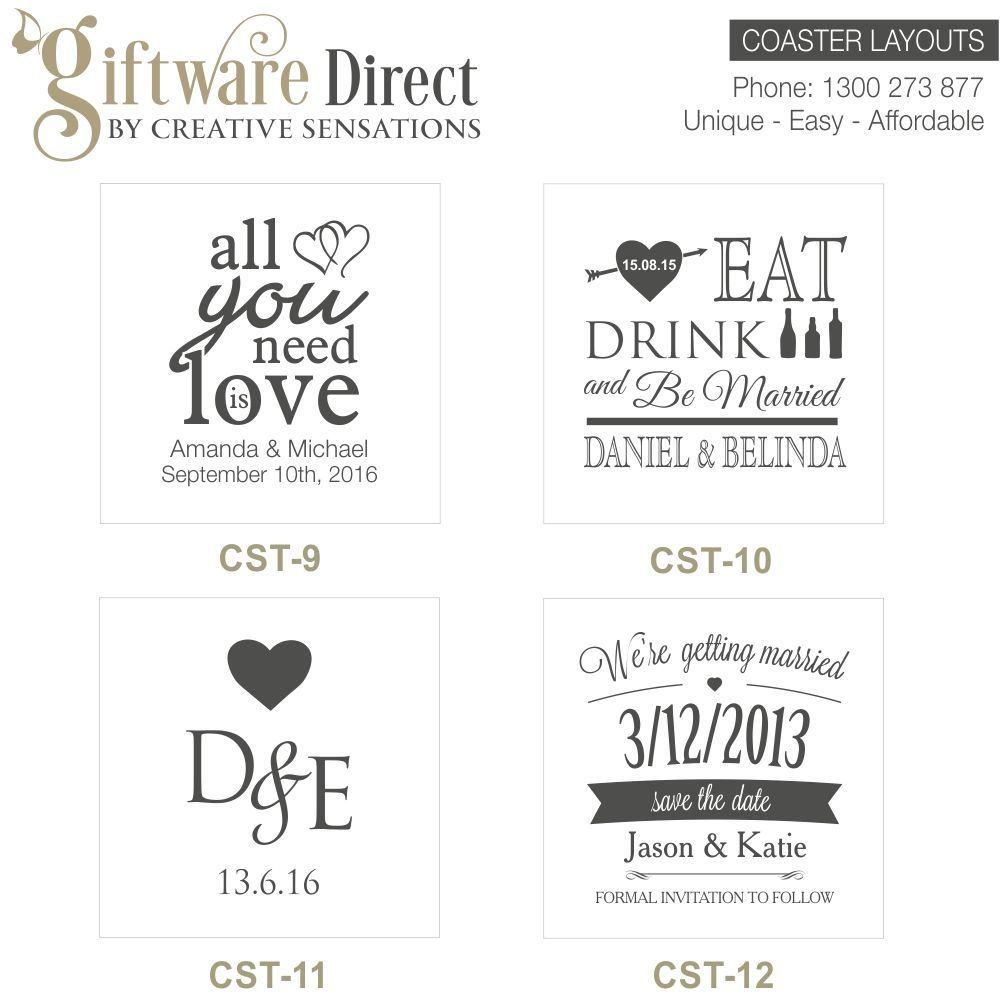 Personalised Engraved Glass Wedding Coasters, Wedding Favours, Cheap ...