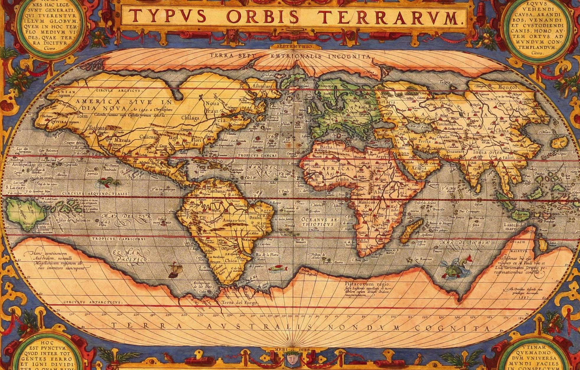 Vintage look 1601 old world map ortelius photo perfect wall travel vintage look 1601 old world map ortelius photo perfect wall travel art picture gumiabroncs Image collections