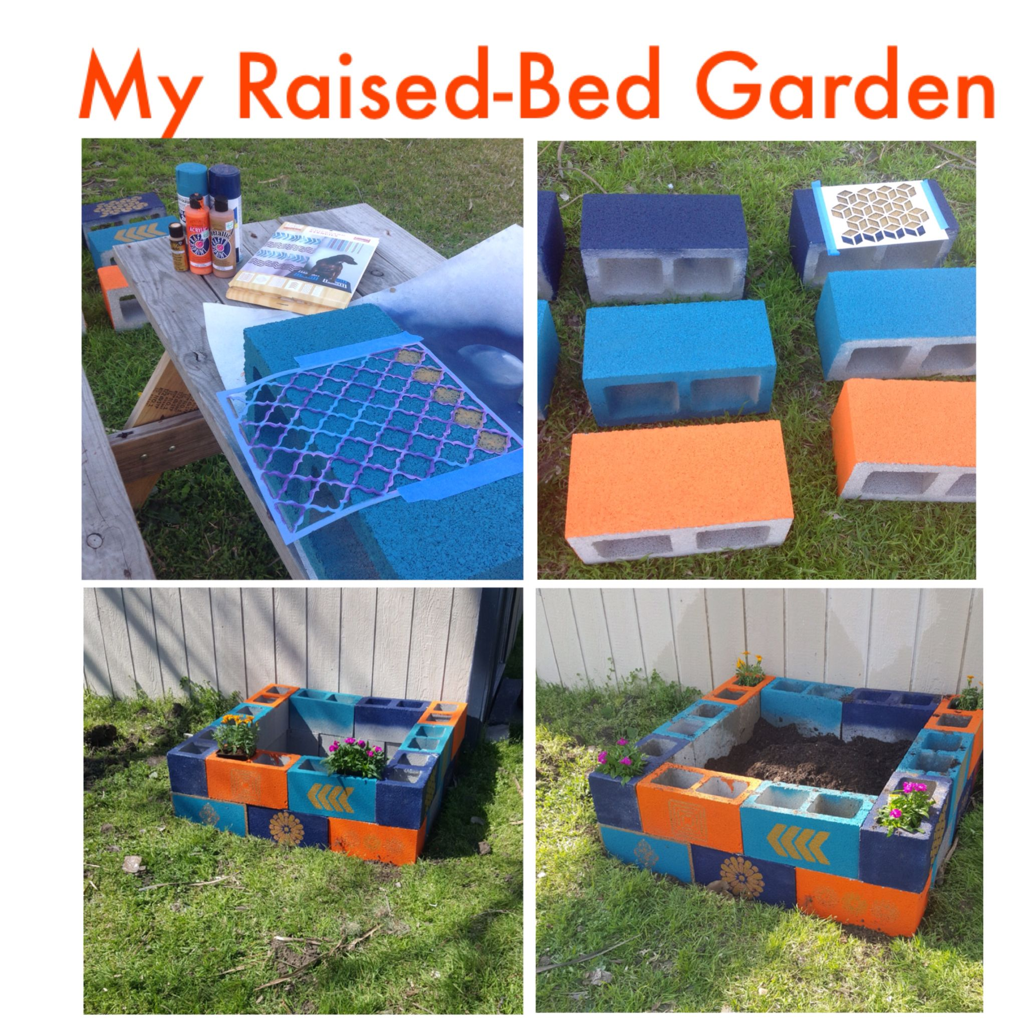 My first try at a raised bed cinder block garden i - Painting cinder blocks for garden ...