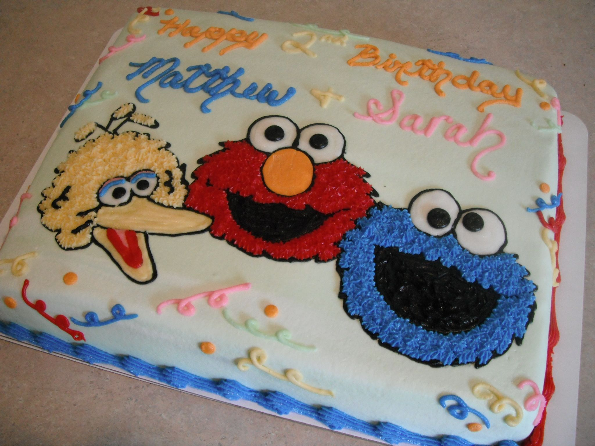 Sesame Street Birthday 1 2 Sheet Cake With Big Bird Elmo