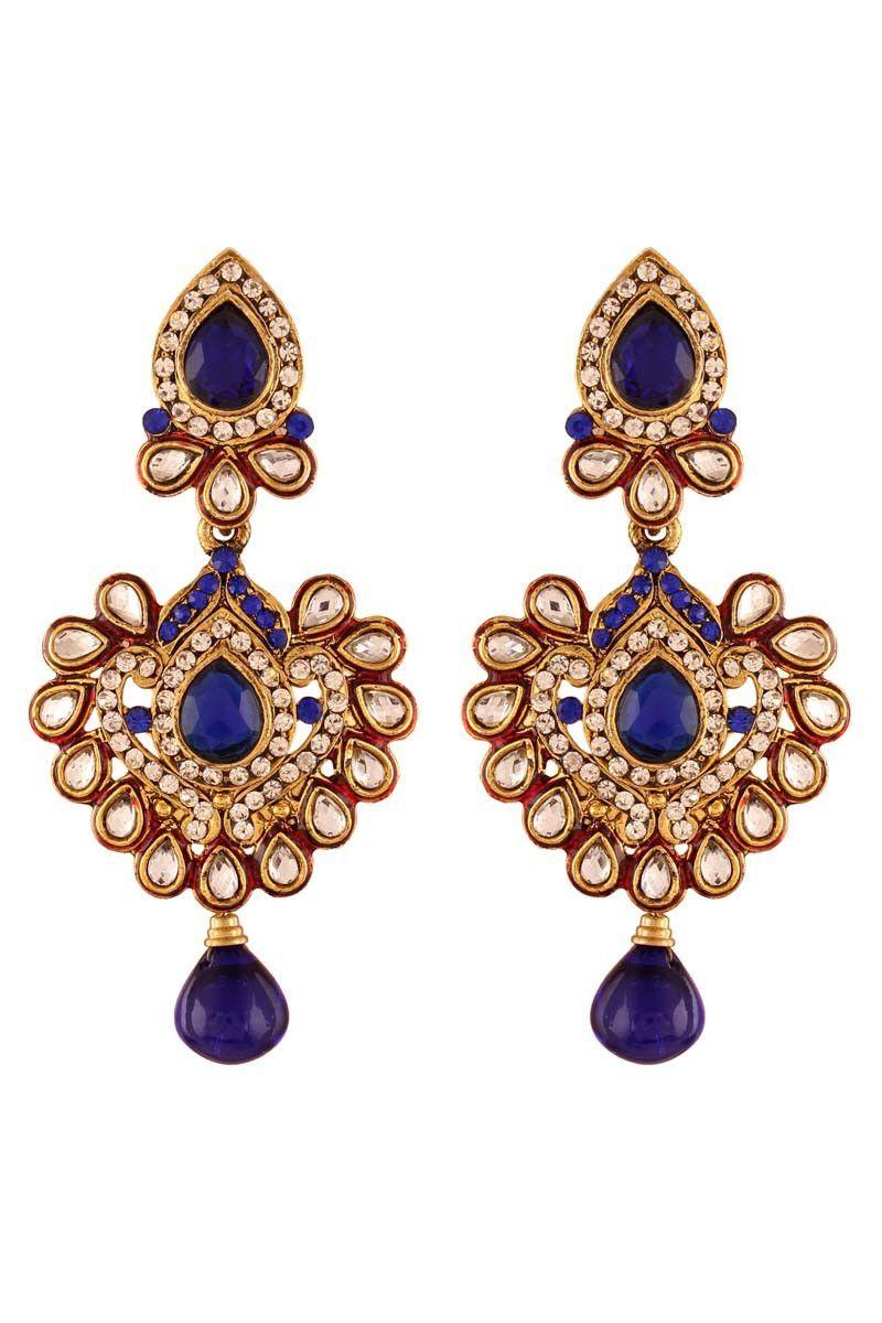 Blue gold plated kundan earrings earrings on variation pinterest