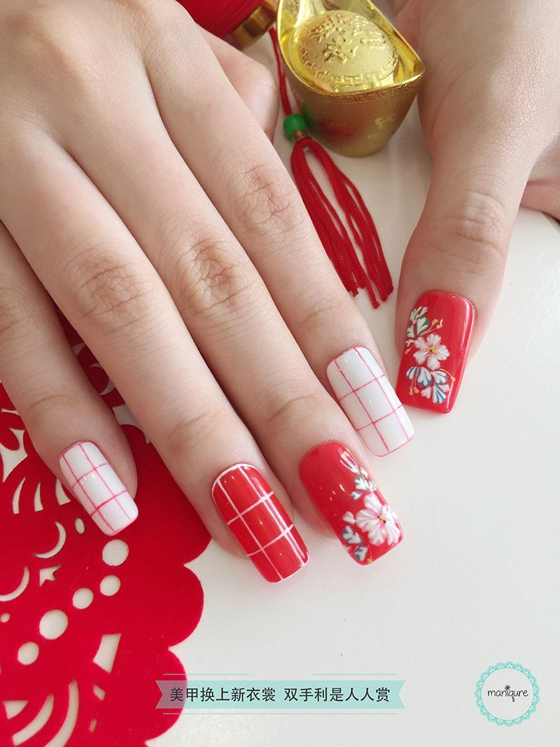 Chinese New Year Nail Art 2018 - CNY Manicure | Chinese embroidery ...