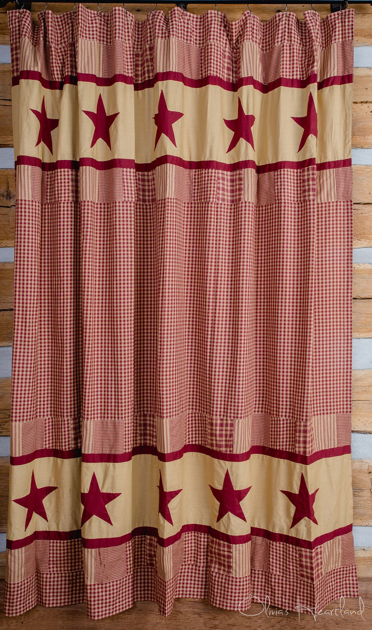 Our Jamestown Burgundy Shower Curtain Displays And Tan Patchwork Stars It Coordinates With Quilted Bedding