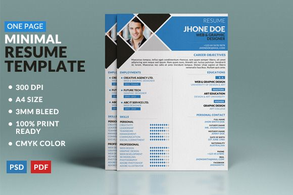 resume cover page template check minimal one creative market 1 professional pdf