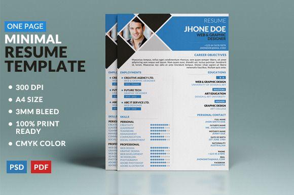 minimal one page resume template  creativework247