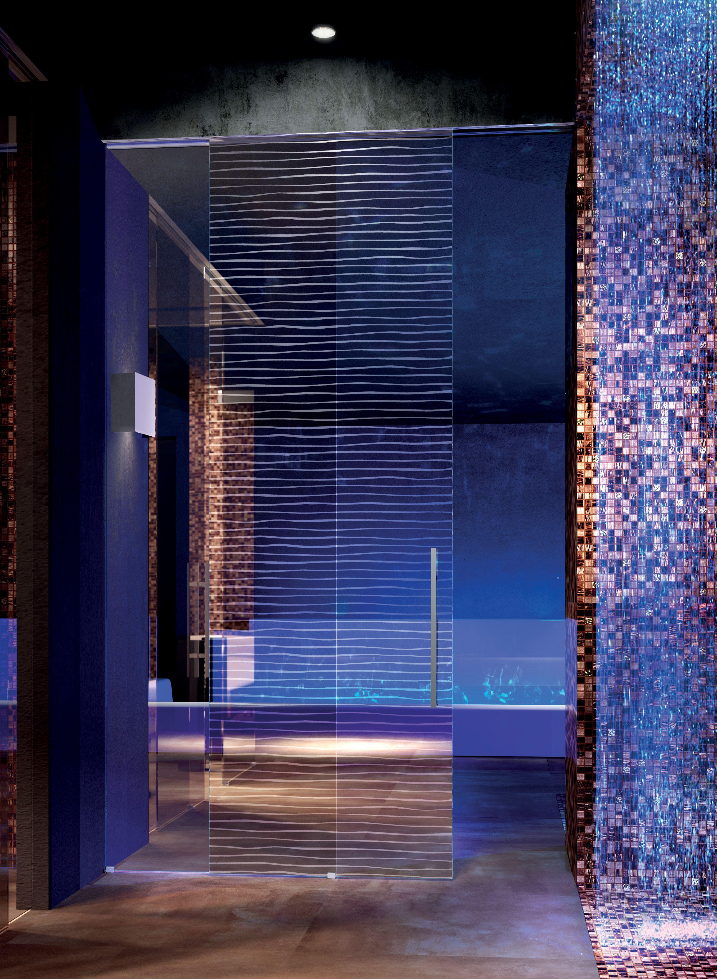 Porte scorrevoli esterno muro inside vetro stratificato trasparente extralight decoro sabbiato - Porte a scorrimento esterno ...