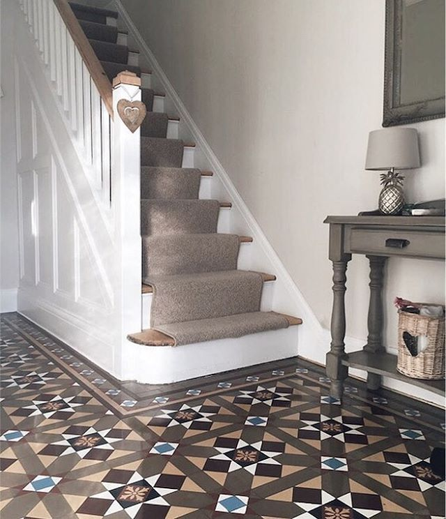 Floor Covering Ideas For Hallways: Hallway With Original Minton Tiles, Stripped Staircase And